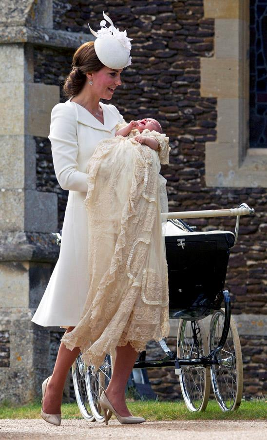 Kate chose a chic, off-white Alexander McQueen coatdress and nude heels for the private ceremony.
