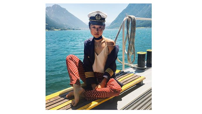 <b>Margaret Zhang</b> <br> @margaret_zhang keeping within the nautical theme while sailing the coastline of Austria.