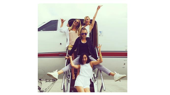 <b>Margot Robbie</b> <br> @margotrobbie jetting around in style with her fellow cast members from the movie Suicide Squad.
