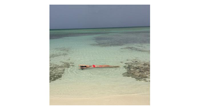 <b>Lily Aldridge </b> <br> @lilyaldridge going for a morning swim in perfect conditions.