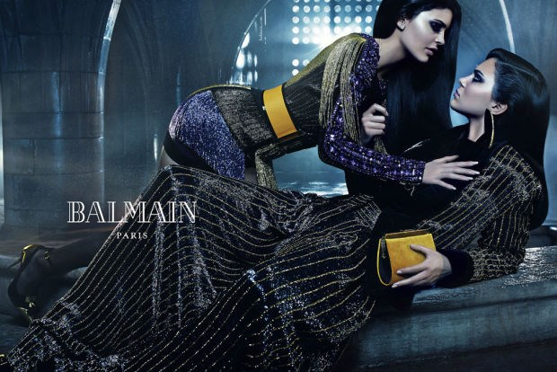 Balmain sister act #1: Kendall and Kylie Jenner are one of three model sister duos tapped for Balmain's autumn/winter 2015 campaign, photographed by Mario Sorrenti.
