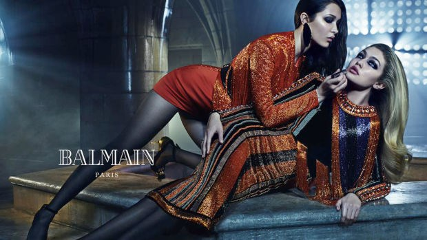 Balmain sister act #2: Gigi and Bella Hadid also star in the new campaign.