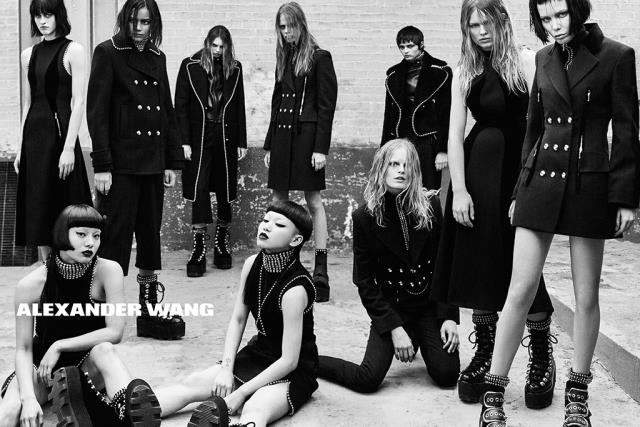 Shot in black and white by Steven Klein, Alexander Wang's autumn/winter 2015 campaign stars a host of faces including Anna Ewers, Molly Bair, Binx Walton, Lexi Boling, Hanne Gaby Odiele, Sarah Brannon, Isabella Emmack, singer Alice Glass and Japanese dance duo AyaBambi.