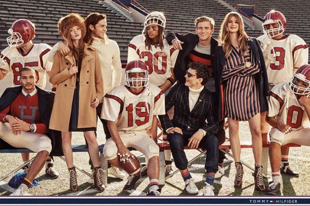 This might just be Tommy Hilfiger's most American campaign yet: model footballers and their equally attractive model sidekicks including Behati Prinsloo.