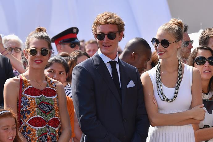 A chic trio: Beatrice and Pierre throw shade with Charlotte Casiraghi.