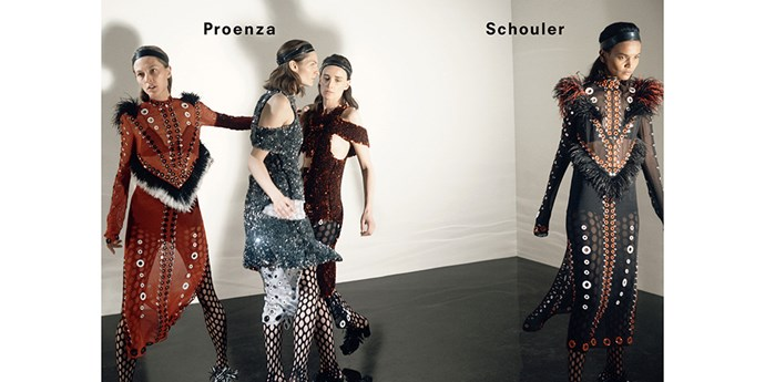 <strong>Proenza Schouler: </strong> <br><br> <strong>Model:</strong> Anne Catherin Lacroix, Karolin, Wolter, Liisa Winkler and Liya Kebede <br><br> <strong>Photographer:</strong> <br><br> David Sims