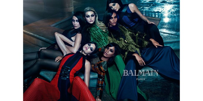 <strong>Balmain: </strong> <br><br> <strong>Model:</strong> Bella and Gigi Hadid, Joan and Erika Smalls and Kendall and Kylie Jenner <br><br> <strong>Photographer:</strong> Mario Sorrenti
