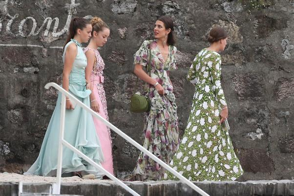 Princess Alexandra of Hanover, Charlotte Casiraghi and Tatiana Santo Domingo arrive at the wedding reception.