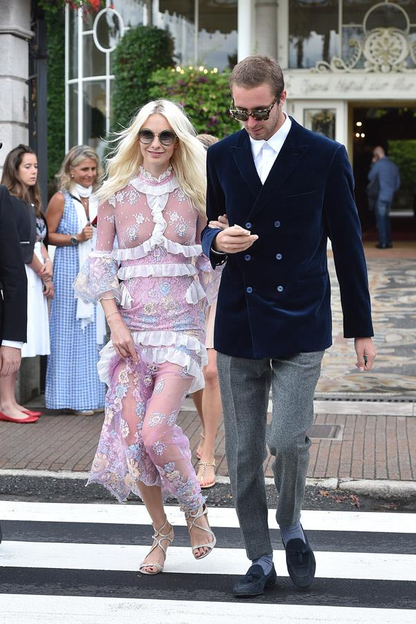 A newly-platinum haired Poppy Delevingne attended the extravagant wedding.