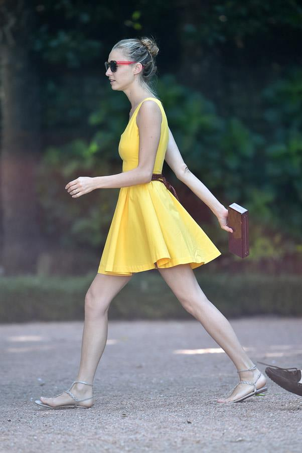 The Italian aristocrat wore a pretty yellow sundress around her family hotel the day after her wedding.
