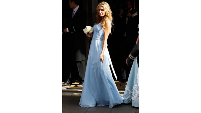 <strong>Paris Hilton</strong> <br><br>Paris wore in blue at her sister Nicky's wedding.