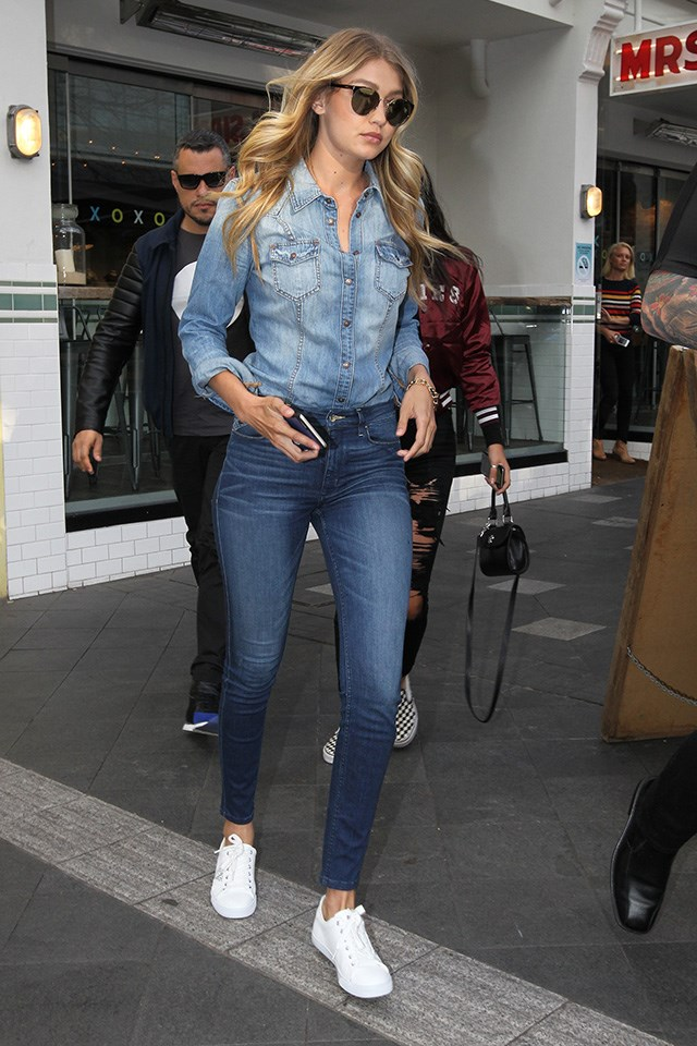 Gigi worked the double denim look while in Sydney for Guess, stepping out for a late lunch at Mrs Sippy in Double Bay.