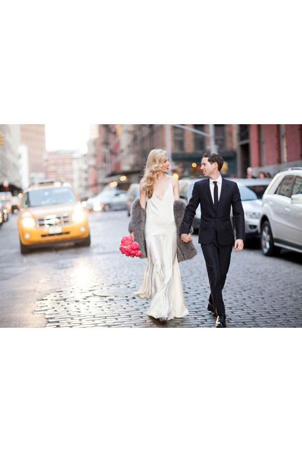 """<a href=""""http://www.harpersbazaar.com/culture/features/g1758/joanna-hillman-wedding-photos/ """">Joanna Hillman</a>, style director US<em>Harper's BAZAAR </em>, wore Rochas."""