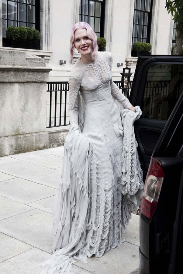 "<a href=""http://www.anothermag.com/art-photography/gallery/1262/alex-dromgoole-katie-shillingfords-wedding/3"">Katie Shillingford</a>, fashion editor <em>Dazed & Confused</em>, wore Gareth Pugh."