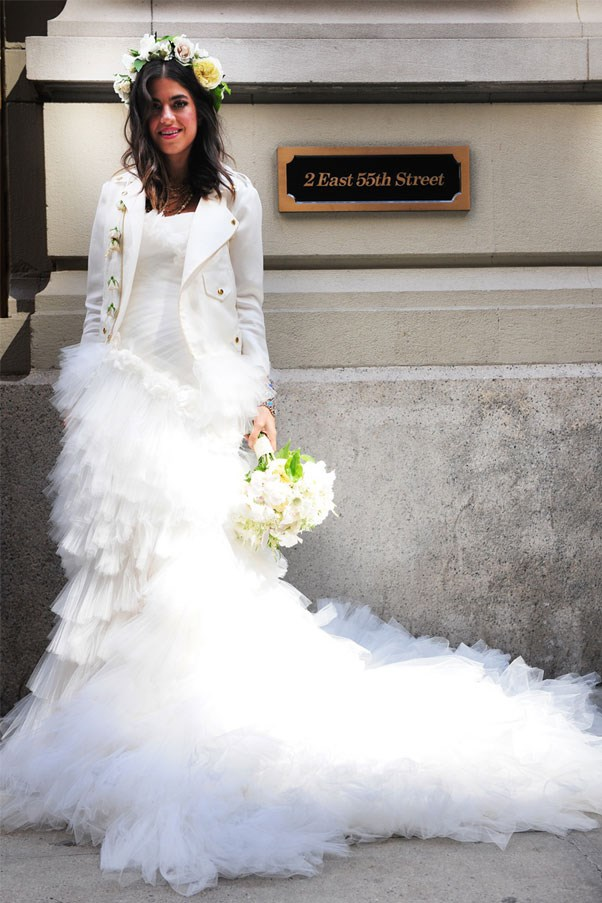 "<a href=""http://www.manrepeller.com/2012/07/thematic-repelling-wedding-day.html"">Leandra Medine</a>, <em>The Manrepeller</em> founder, wore Marchesa dress and custom motorcycle jacket by Rebecca Minkoff."