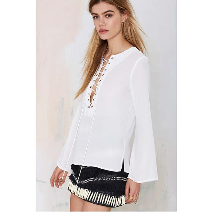 "Nasty Gal Livin' After Midnight Lace-Up Blouse, $78.89 <br><a href=""http://www.nastygal.com.au/product/nasty-gal-livin-after-midnight-laceup-blouse"">NastyGal.com </a>"