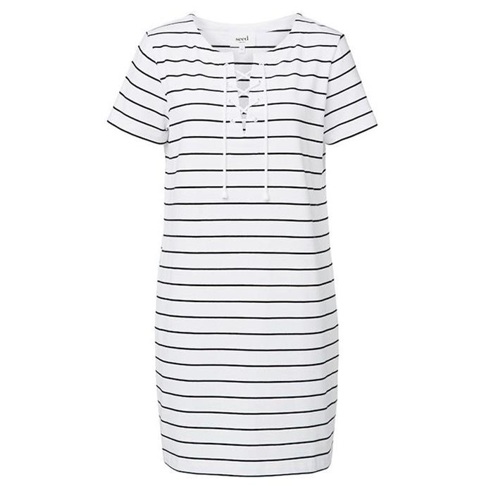 "Seed lace up stripe dress, $79.95 <br><a href=""http://www.seedheritage.com/new-arrivals/lace-up-stripe-dress/w1/i13123240_1001285/"">SeedHeritage.com </a>"