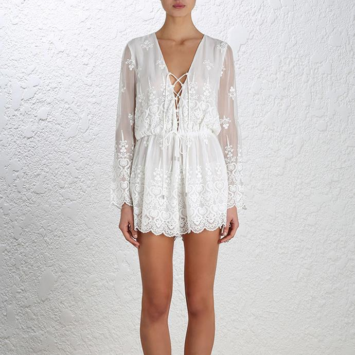 "Zimmermann Lucia Silk Embroidery Playsuit, $420 <br><a href=""http://www.zimmermannwear.com/lucia-silk-embroidery-playsuit-ivory.html"">ZimmermannWear.com</a>"