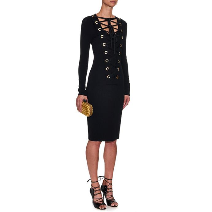 "Givenchy Lace-up jersey dress, $2,716 <br><a href=""HTTP://WWW.MATCHESFASHION.COM/AU/PRODUCTS/GIVENCHY-LACE-UP-JERSEY-DRESS-1019526"">MatchesFashion.com </a>"