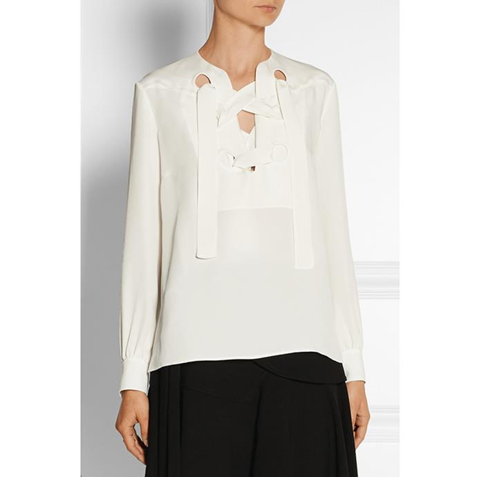 "Derek Lam lace-up silk-georgette top, $813 <br><a href=""http://www.net-a-porter.com/product/573408?resType=single&keywords=derek%20lam%20lace-up&termUsed=derek%20lam%20lace-up&enableAjaxRequest=false"">Net-A-Porter.com </a>"