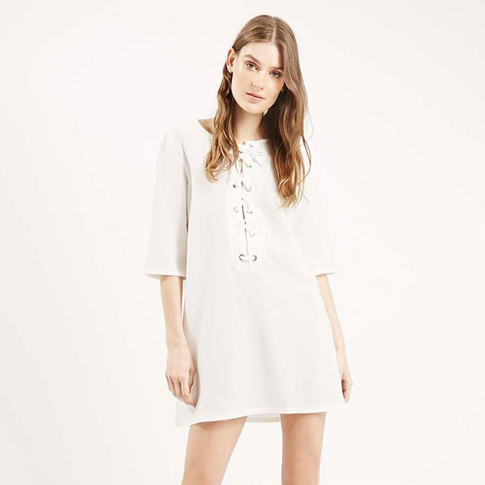 "Tunic dress, $70 <br><a href=""http://www.topshop.com/webapp/wcs/stores/servlet/ProductDisplay?Ntt=lace-up&storeId=12556&productId=19884800&urlRequestType=Base&categoryId=&langId=-1&productIdentifier=product&catalogId=33057"">Topshop.com </a>"