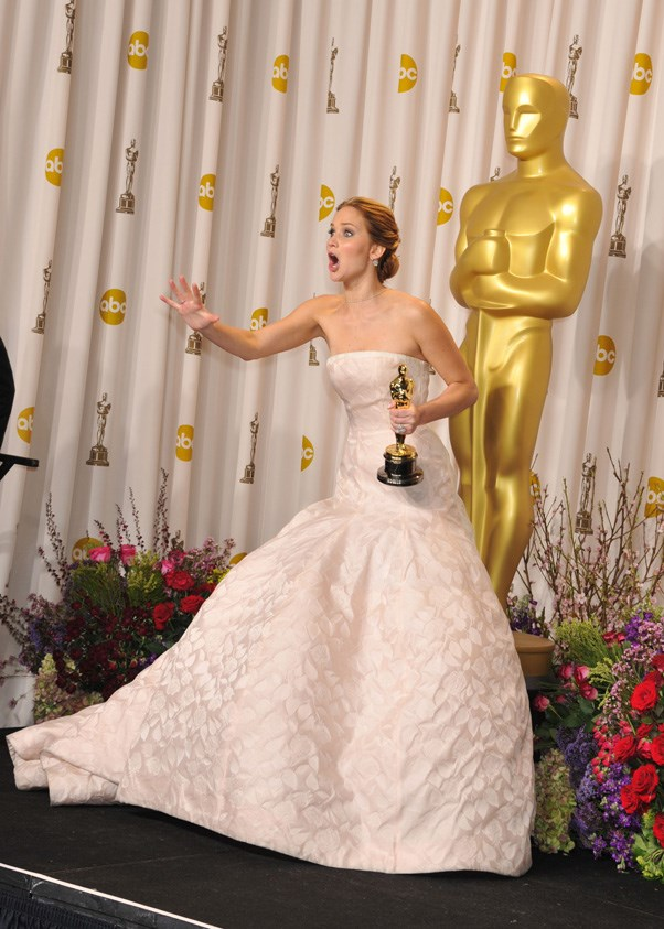 At the Oscars 2013, following her infamous (and hilarious) onstage tumble...