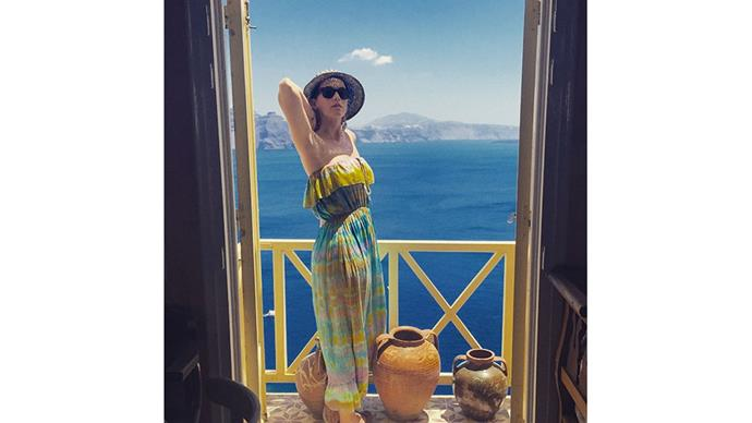 <strong>Katy Perry</strong><br> @katyperry poses on a balcony while on a trip to Greece.