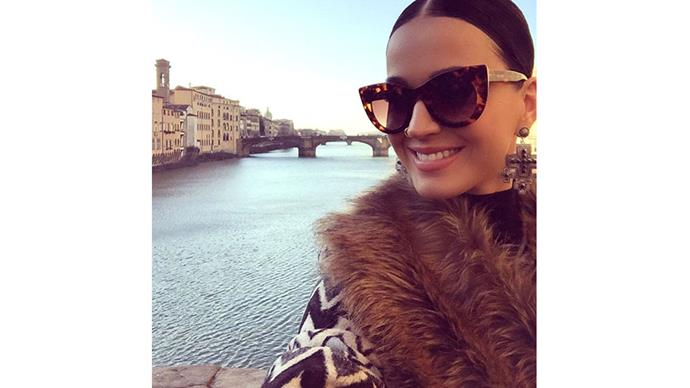 <strong>Katy Perry</strong><br> The singer snaps a glam selfie while touching down in Italy.