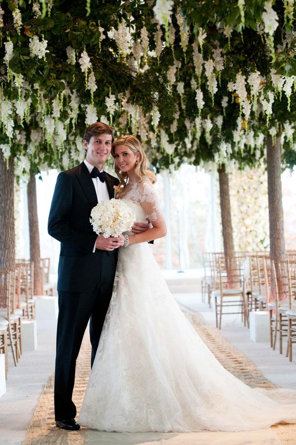 Ivanka Trump wore custom Vera Wang (modelled on Grace Kelly's wedding dress) when she tied the knot with Jared Kushner in 2009.
