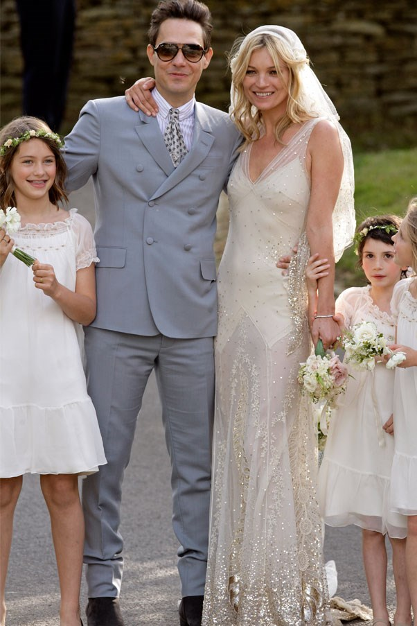 """<strong><a href=""""http://www.harpersbazaar.com.au/news/fashion-buzz/2011/7/kate-moss-wedding-wrap-up/"""">Kate Moss</a> </strong>wore a custom design by close friend John Galliano to marry Kill's frontman Jamie Hince."""