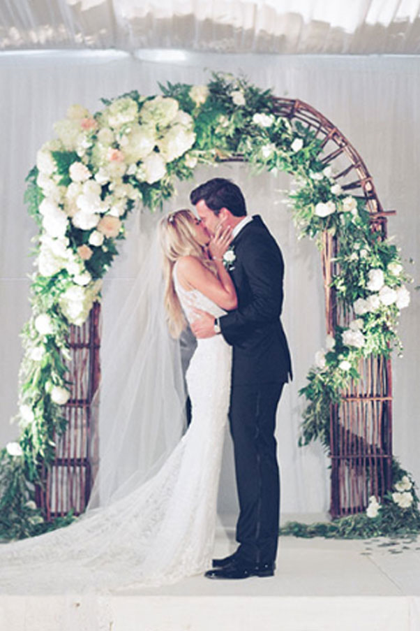 Lauren Conrad married William Tell in a custom Mark Badgley and James Mischkam sleeveless gown.