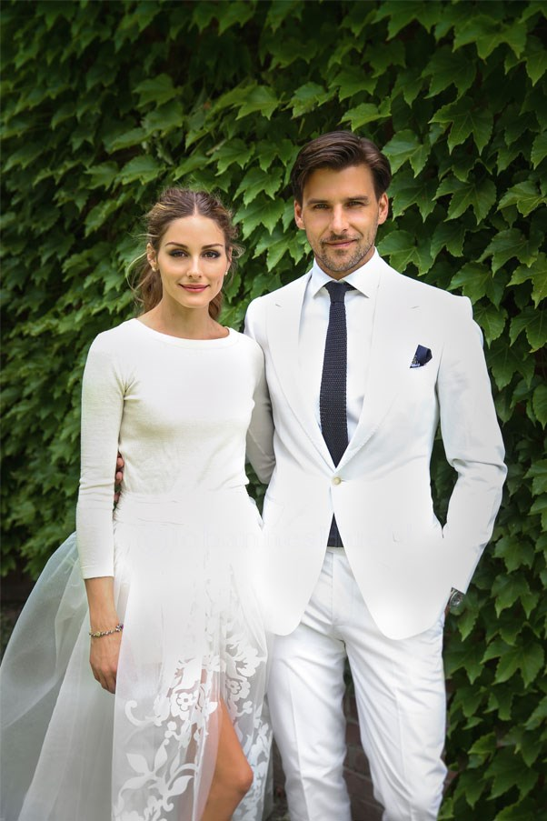 """<a href=""""http://www.oliviapalermo.com/olivia-and-johannes-wedding-day/"""">Olivia Palermo</a> wore a three-piece Carolina Herrera ensemble for her marriage to Johannes Huebl in upstate New York."""
