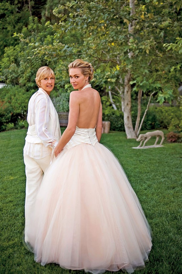 Ellen DeGeneres and Portia de Rossi both wore Zac Posen on their special day.
