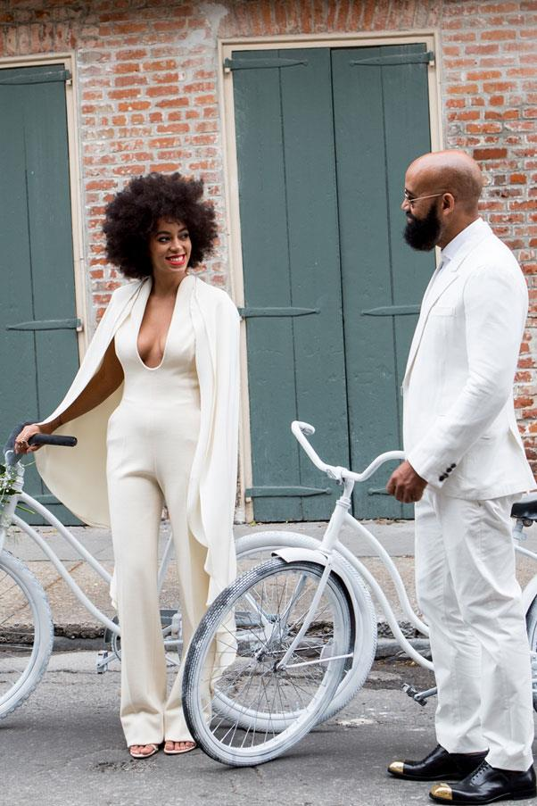"""Solange Knowles <href=""""http://www.harpersbazaar.com.au/news/celebrity-tracker/2014/11/solange-knowles-ties-the-knot/"""">tied the knot</a> to long-time boyfriend and video director Alan Ferguson in a custom Kenzo jumpsuit."""