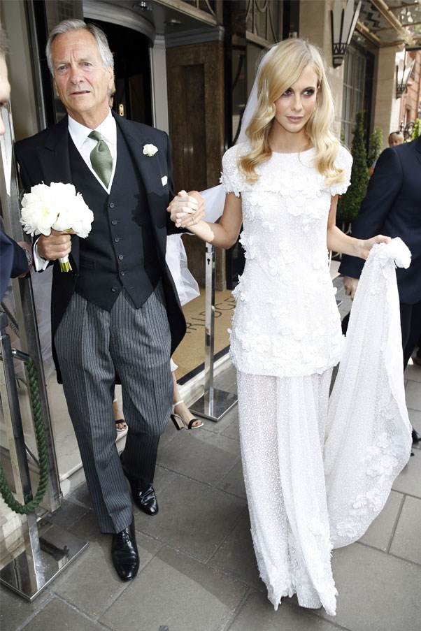 Poppy Delevingne wore Chanel for her first, English-based wedding to James Cook.