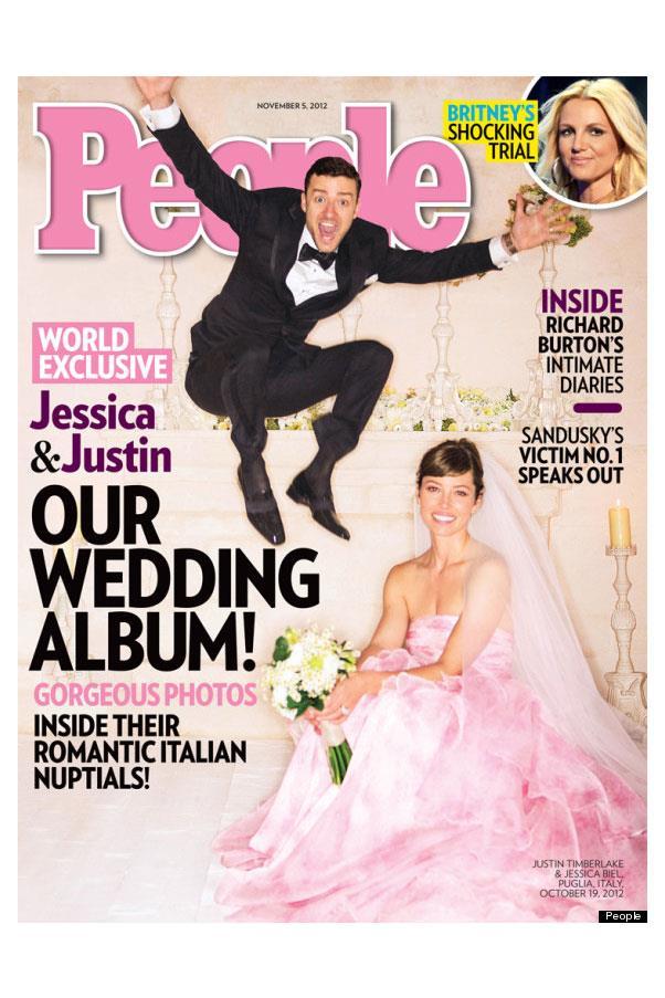 Jessica Biel wore a pink Giambattista Valli gown when she married Justin Timberlake.