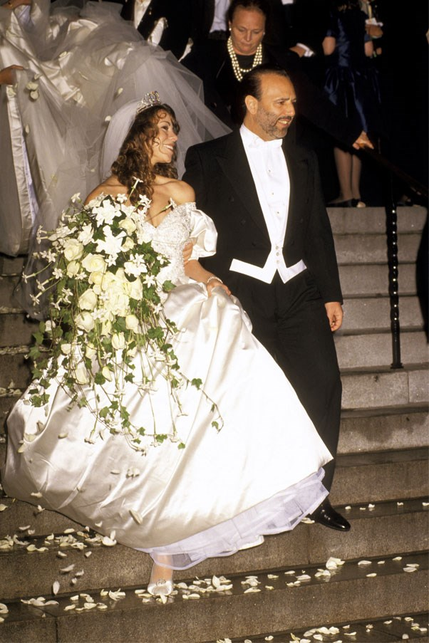 Mariah Carey wore Vera Wang when she wed her first husband, Tommy Mottola, in 1993.