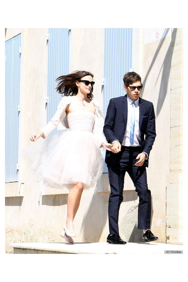 Keira Knightley wore a short Chanel dress when she married James Righton.