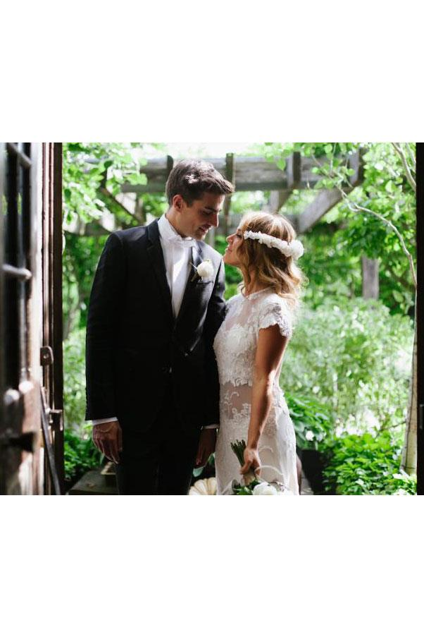 "<a href=""http://thelane.com/Style-Guide/real-weddings/architectural-new-york-garden-wedding""><strong>Sasha Leibowitz</strong></a>, fashion stylist, wore a vintage beaded gown."