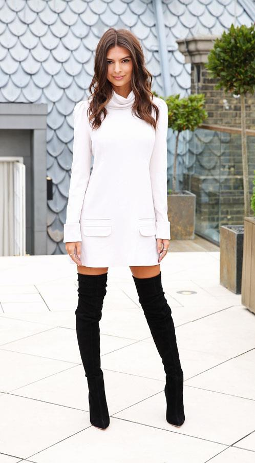 In Zimmerman dress and Brian Atwood boots at a <em>We Are Your Friends</em> photocall in London.