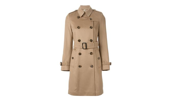 """<strong>Kellie Hush, editor-in-chief: </strong> <br><br> <em>One word: Burberry. I have two trench coats and at least three other Burberry coats. Amazing quality and fit.</em> <br> <br> Burberry trench coat, $3172, from <a href=""""http://www.farfetch.com/au/shopping/women/burberry-london-kensington-trench-coat-item-11118957.aspx?storeid=9446&ffref=lp_38_8_"""">Far Fetch</a>"""