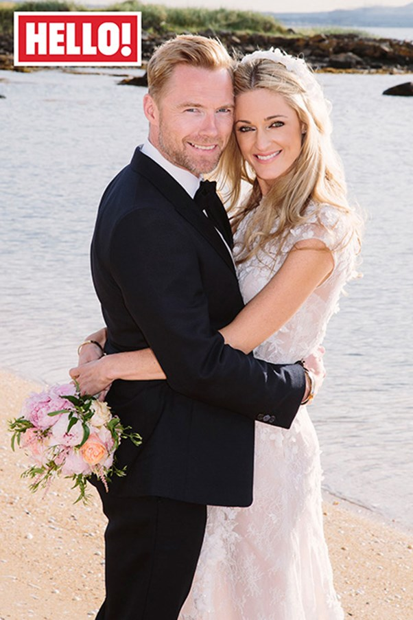 """Storm Uechtritz married Ronan Keating in Steven Khalil couture at an intimate ceremony in Edinburgh, Scotland.<br><br> Photo courtesy of <em><a href=""""http://www.hellomagazine.com/"""">Hello</a></em>."""