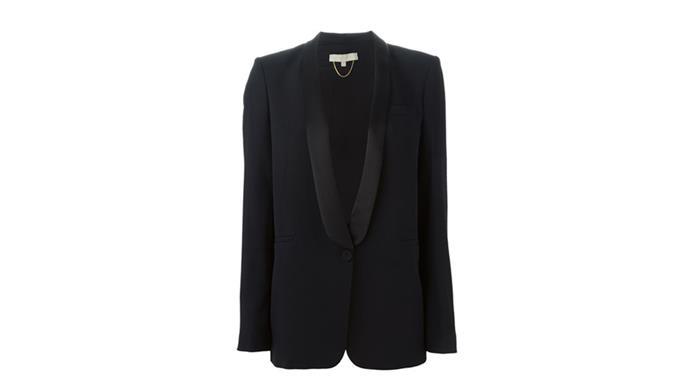 """<strong>Jessica Matthews, deputy chief subeditor/writer: </strong> <br><br> <em>Blazers. I wear them with everything. And a good grey scarf.</em> <br> <br> Vanessa Bruno blazer, $669, from <a href=""""http://www.farfetch.com/au/shopping/women/vanessa-bruno-tuxedo-blazer-item-11045722.aspx?storeid=9214&ffref=lp_19_3_"""">Far Fetch</a>"""