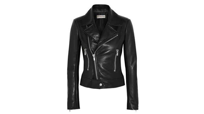 """<strong>Stephanie Pembroke, deputy art director: </strong> <br><br> <em>Balenciaga Leather Biker Jacket. Warm. Black. Goes with everything. Makes you feel cool. What's not to love?</em> <br> <br> Balenciaga Biker Jacket, $3065, from <a href=""""http://www.net-a-porter.com/product/618809/Balenciaga/leather-biker-jacket"""">NET-A-PORTER</a>"""