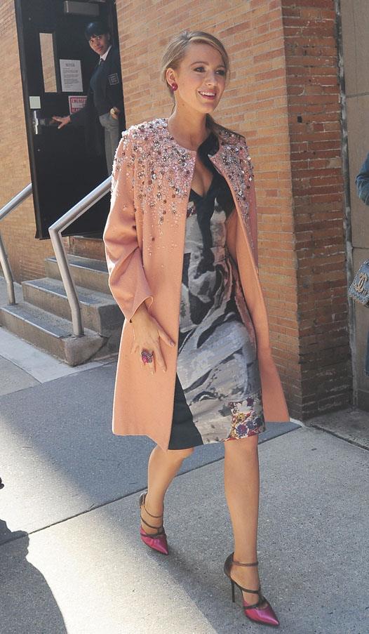 In Jenny Packham coat, <em>Age of Adeline</em> press tour.