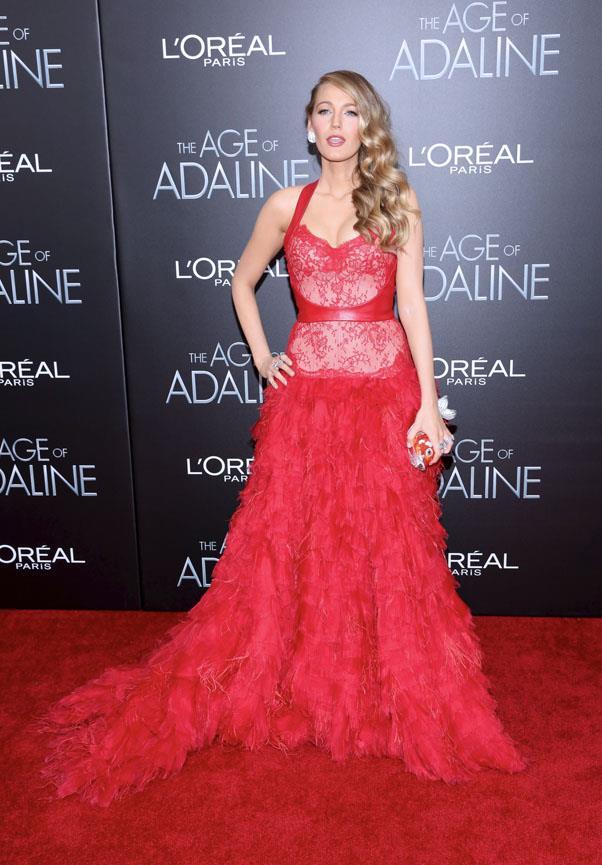 In Monique Lhuillier, <em>Age of Adaline</em> New York premiere.