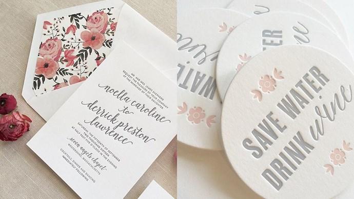 "<strong>The Stationery:</strong> <a href=""https://instagram.com/aerialistpress/""><em>@aerialistpress</em></a><br><br> Foiled invitations + artisan letterpress + hand drawn fonts = Typography heaven."