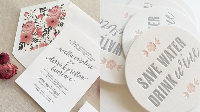 "<strong>The Stationery:</strong> <a href=""https://instagram.com/aerialistpress/""><em>@aerialistpress</em></a><br><br> Foiled invitations + artisan letterpress + hand drawn fonts = Typography heaven."