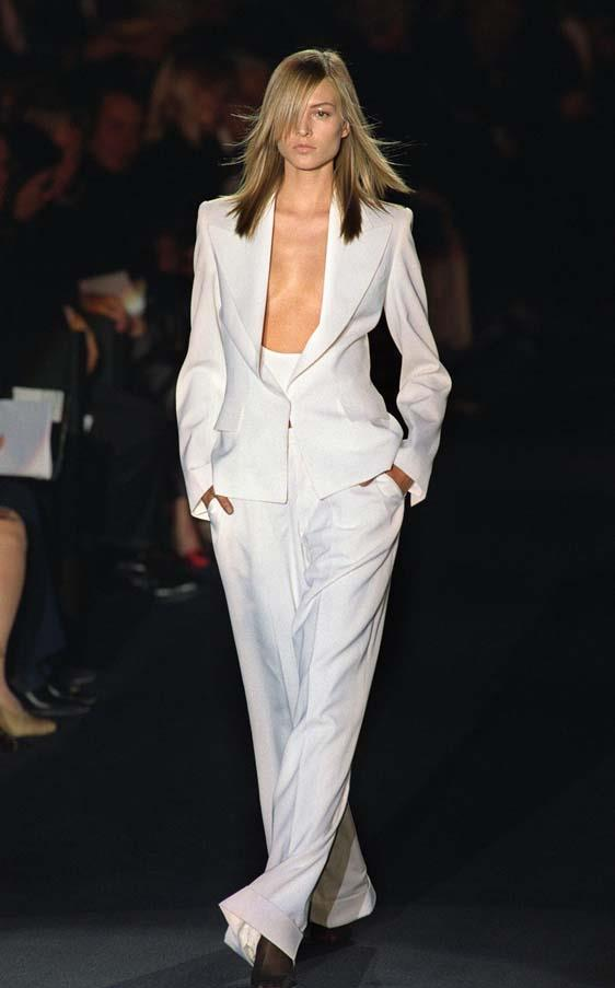 <strong>Oui, le smoking </strong> <br> Ford delved into the Saint Laurent archives and brought Le Smoking back, in white, in his Spring 2001 show. When borrowing from the greats, make sure to put your own spin on it.