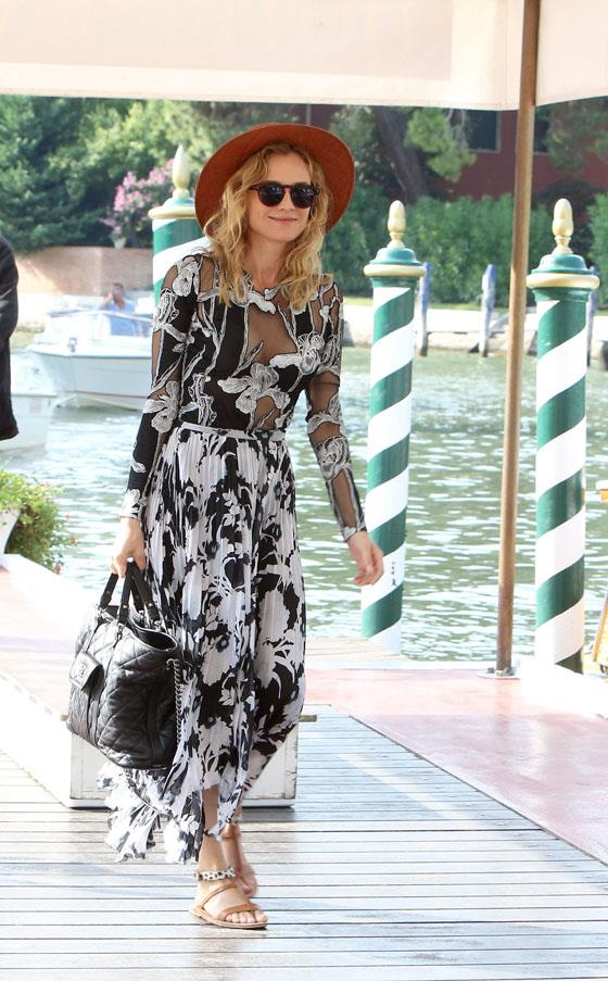 Diane Kruger in Thakoon, Janessa Leone hat and Komono sunglasses